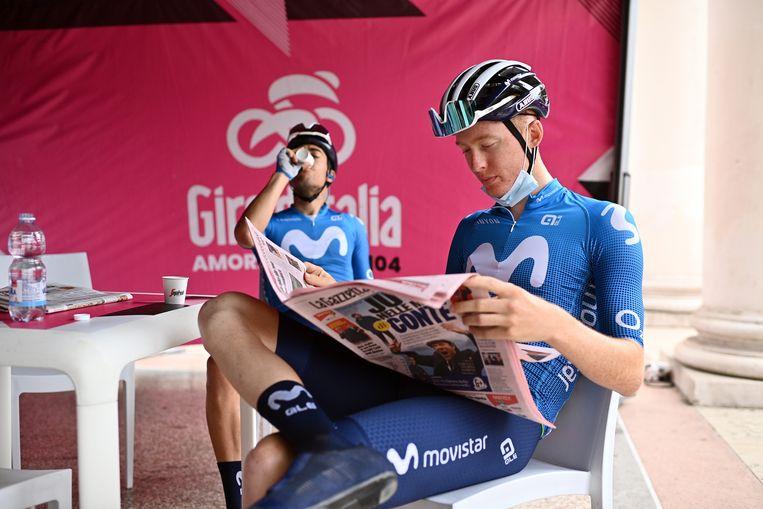 Matteo Jorgenson tijdens de Giro. Beeld LAPRESSE