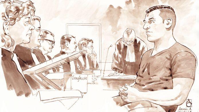 Een rechtbanktekening van de regiezitting van verdachte Armin A.