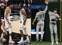 De Milwaukee Bucks (l) kunnen voor het eerst in 50 jaar NBA-kampioen worden. De honkballers van de Brewers juichen mee.