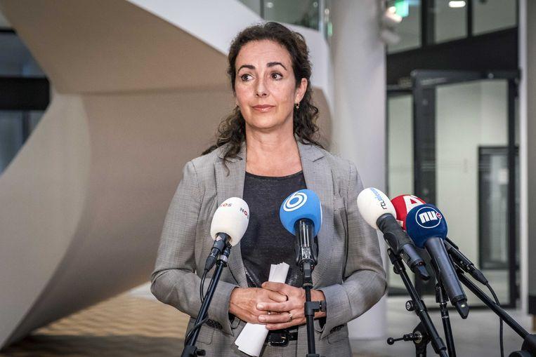 Burgemeester Femke Halsema tijdens een persconferentie op het stadhuis.  Beeld EPA