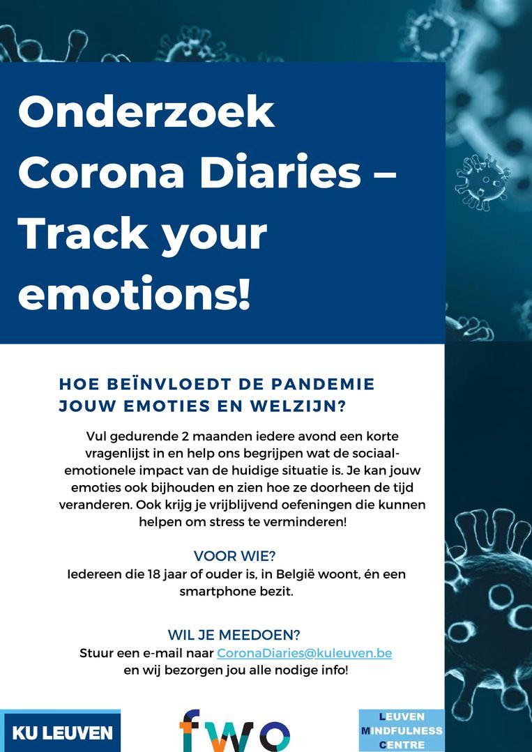 De KU Leuven onderzoekt uw emoties en gedrag tijdens deze quarantaine. Beeld rv