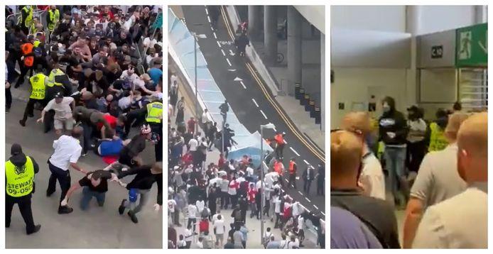 Beelden op sociale media laten de chaos aan Wembley zien. Ook na de aftrap houdt het gedrang aan.