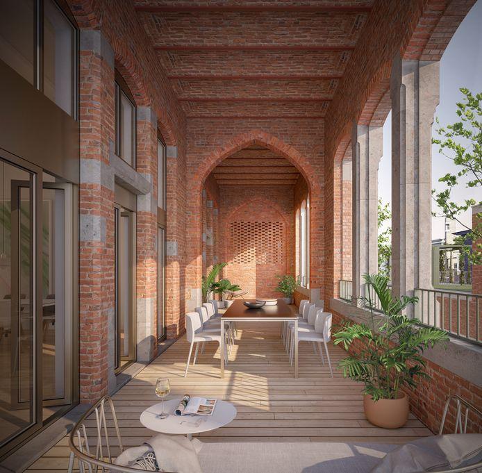 Een appartement met ruim terras.