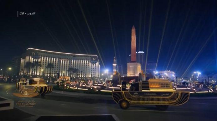 De 'gouden parade van de farao's' was te volgen via livestreams op internet en op de Egyptische televisie.