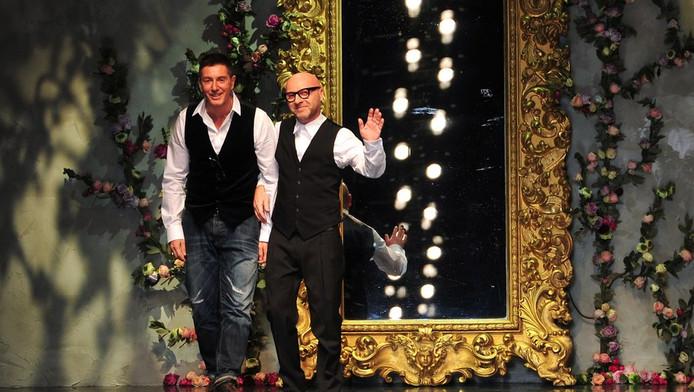 Stefano Gabbana en Domenico Dolce na een show van hun wintercollectie in februari dit jaar.