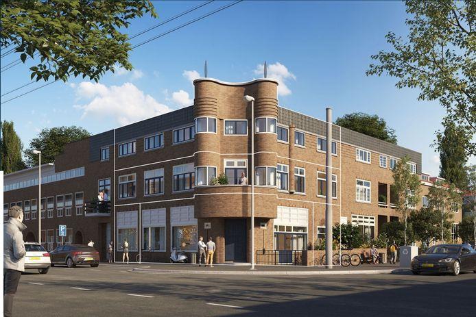 Impressie van café Petersberg in Arnhem, na verbouwing tot appartementencomplex