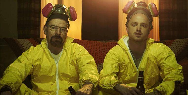 Bryan Cranston en Aaron Paul in 'Breaking Bad'. Beeld Netflix