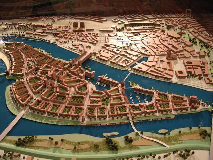 De maquette van het Phanos-plan voor Stadsblokken en Meinerswijk. Op de achtergrond de Arnhemse binnenstad.