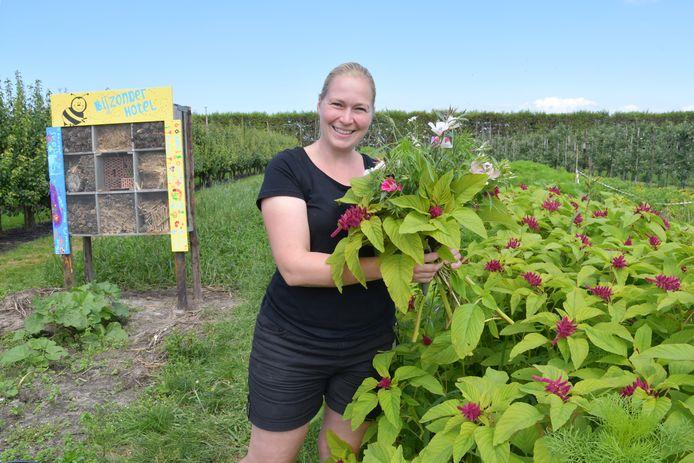 Patricia Flikweert in de pluktuin in Aardenburg, waar je een mooie bos bloemen bij elkaar mag plukken.