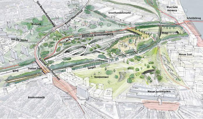 Dit park loopt van aan de Kennedytunnel, over het huidige op- en afrittencomplex Antwerpen-Zuid en de aansluiting op de A112, tot aan de Kolonel Silvertopstraat. Met de herinrichting van dit op- en afrittencomplex en de overkapping van de A112, ontstaan er nieuwe, groene verbindingen tussen de wijken het Kiel, Antwerpen-Zuid en Brederode.