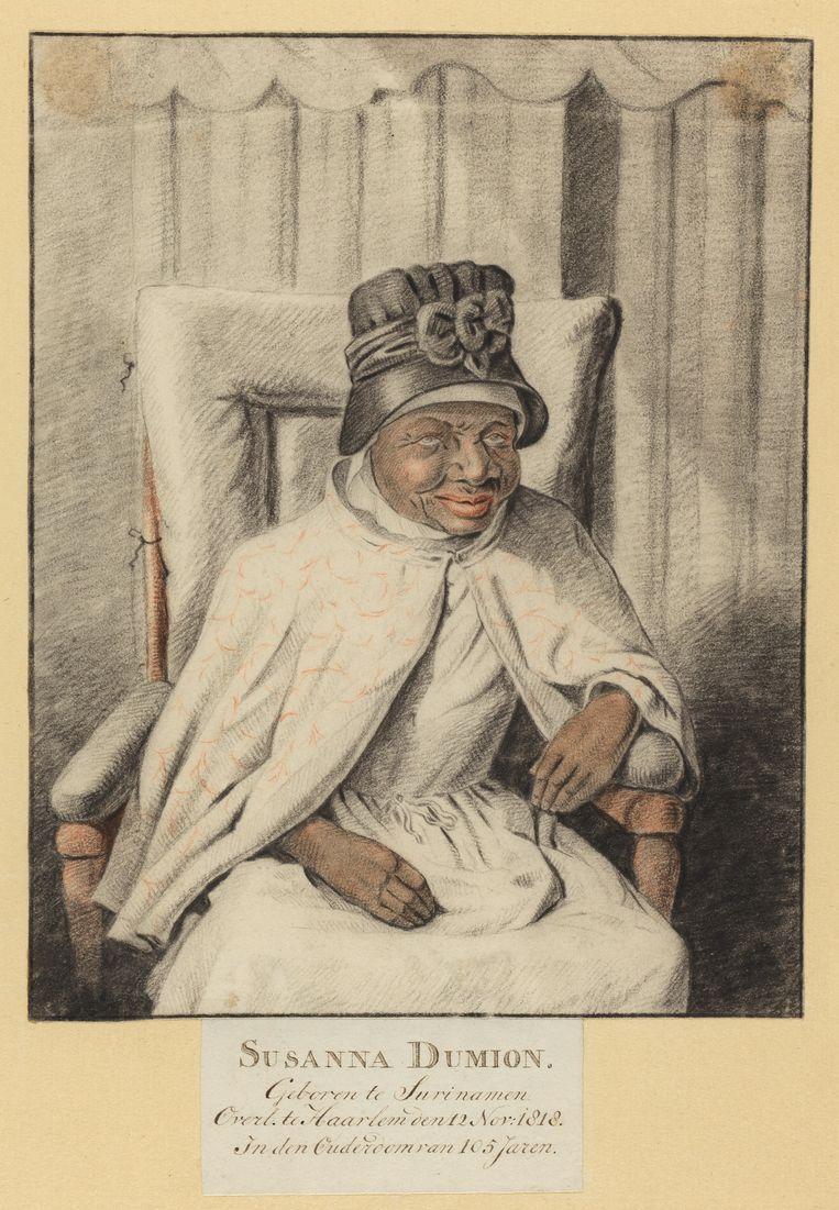 Portret van Susanna Dumion (1713-1818) op 100-jarige leeftijd, door Jacob Ernst Marcus. Dumion werd door Storks voorouders als slaafgemaakte meegenomen naar Nederland. Beeld Collectie Teylers Museum