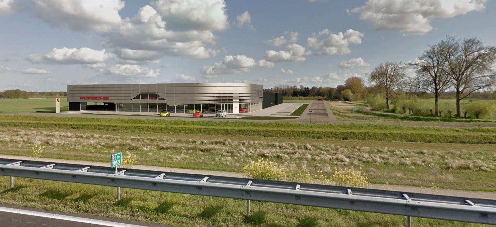 Impressie van de nieuwbouw van Porsche Centrum Twente.