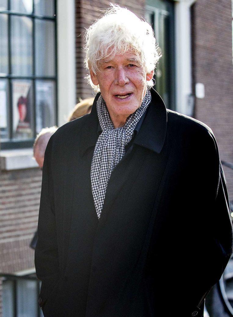 Paul van Vliet arriveert voor de herdenkingsdienst van Seth Gaaikema in de Westerkerk. Beeld anp
