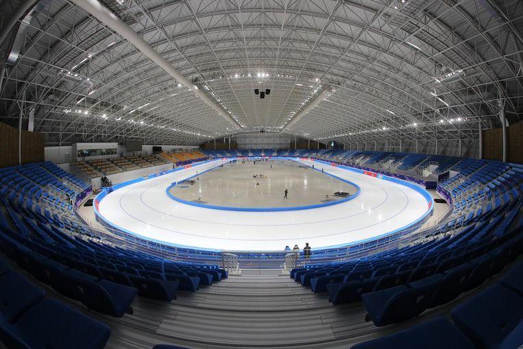 De schaatshal in Gangneung waar het volgend jaar allemaal moet gebeuren Beeld null