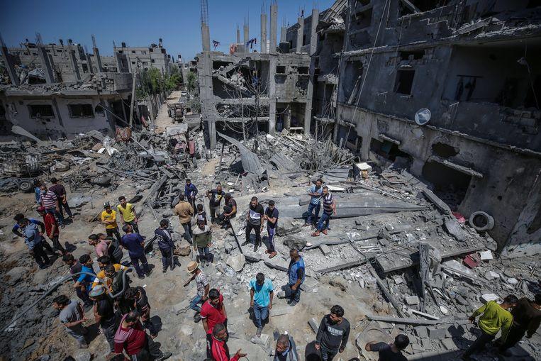 Verwoest wooncomplex in Beit Hanun, een stad in het noorden van de Gazastrook.  Beeld EPA