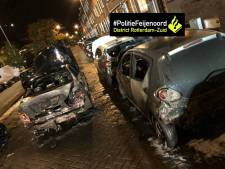 Vier auto's volledig uitgebrand, vier andere wagens beschadigd