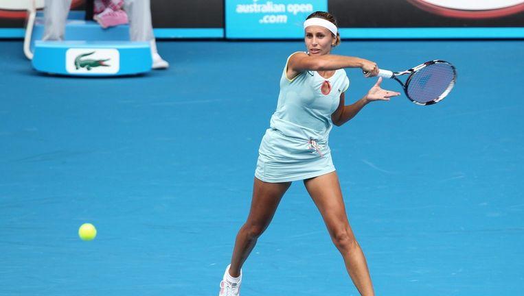 Caroline Wozniacki in haar openingswedstrijd op de Australian Open. Beeld epa