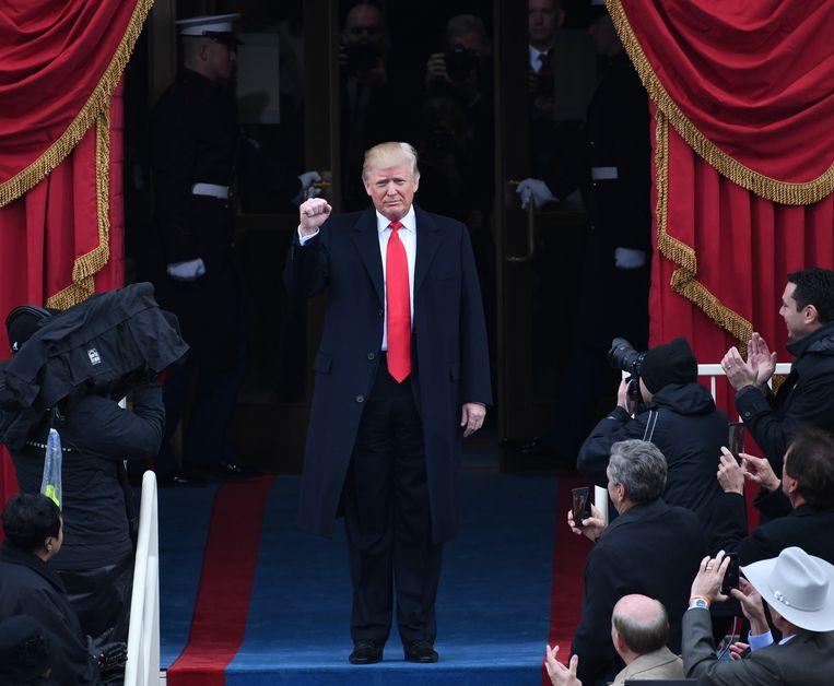 Donald Trump op zijn inhuldiging als president, in januari 2017. Beeld Photo News