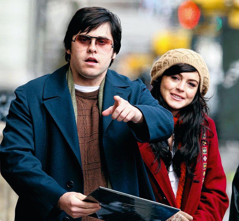 Jared Leto en Lindsay Lohan tijdens de opnames voor 'Chapter 27' Beeld WireImage