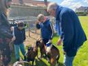 De kinderen genoten duidelijk van de geitjes.