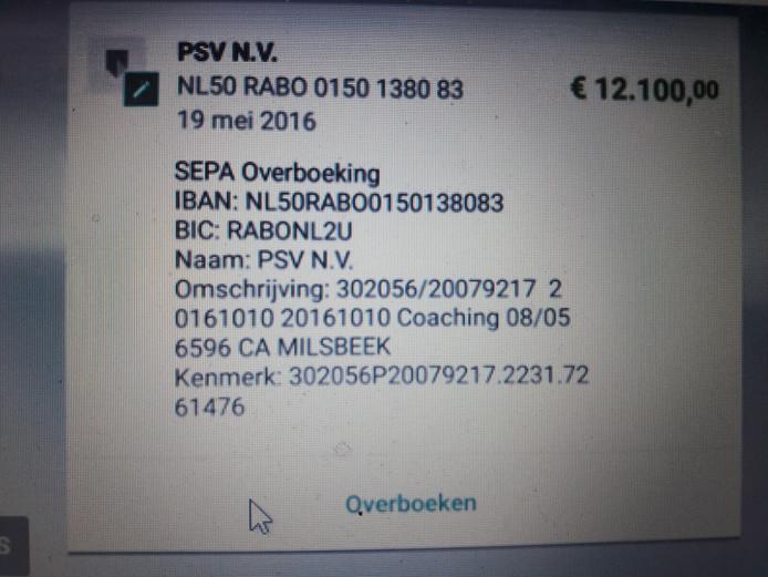 Het bankafschrift en betalingsbewijs van PSV dat John Troost toonde via PowNed.