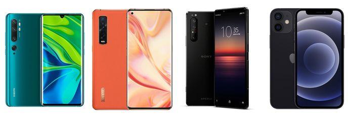 Van l naar r: Xiaomi Mi Note 10, Oppo Find X2 Pro, Sony Xperia 1 II en iPhone 12 Mini