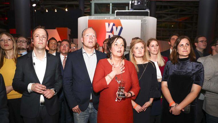 VVD'ers wachten op de uitslag. Beeld anp
