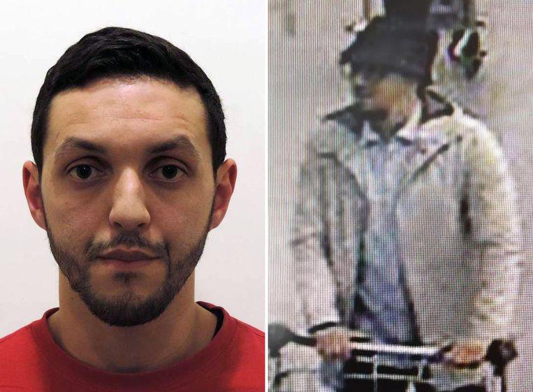 Mohamad Abrini - of de man met het hoedje - vlak voor de aanslagen op Brussels Airport. Beeld afp