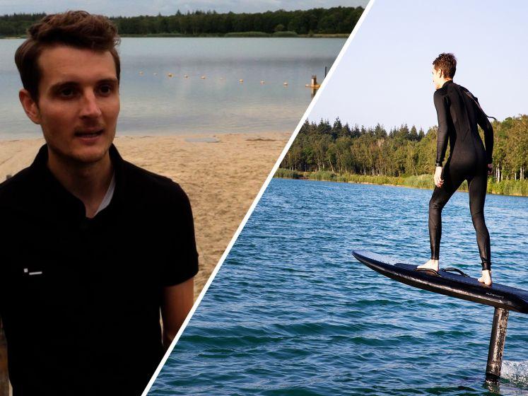 Leraar Leroy raast met surfplank 45 km per uur over het water en steunt goed doel