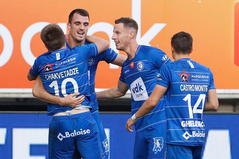 Gent viert het winnende doelpunt. Beeld Photo News