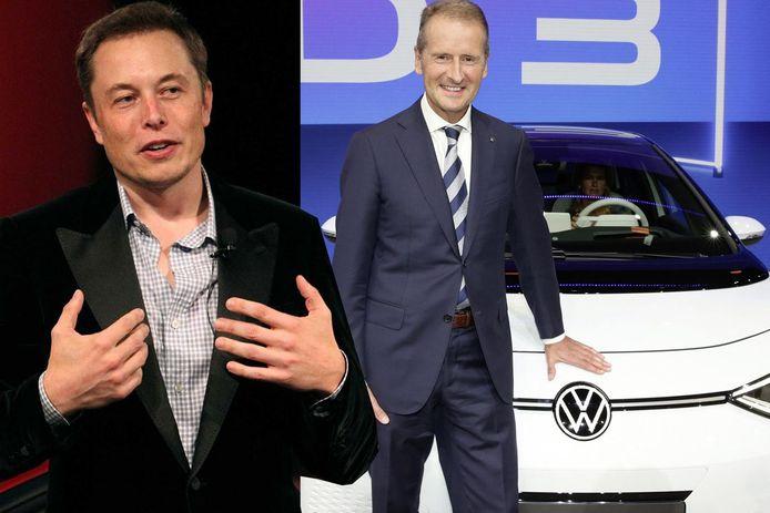 Elon Musk (links) en Herbert Diess konden het zes jaar geleden erg goed met elkaar vinden.