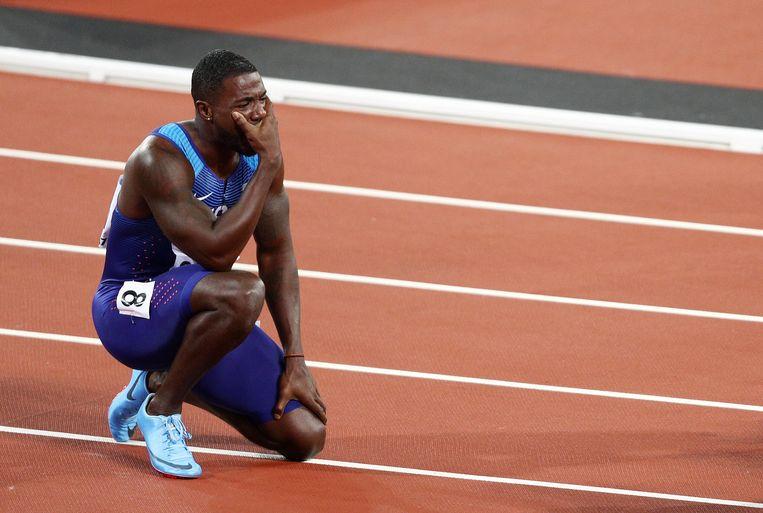 Tranen van geluk. Justin Gatlin is emotioneel na zijn zege op de 100 meter op het WK in Londen. Beeld Getty Images