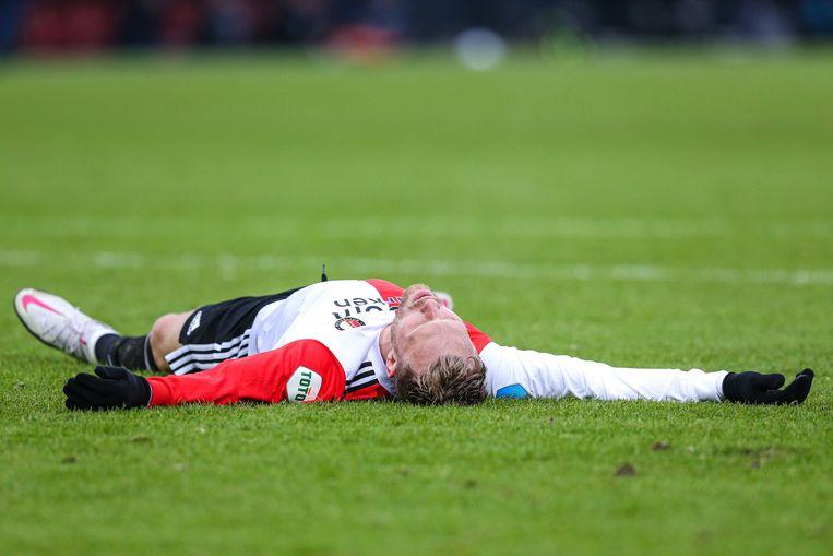 Nicolai Jorgensen tijdens de eredivisiewedstrijd tussen Feyenoord Rotterdam en Heracles Almelo. Beeld ANP