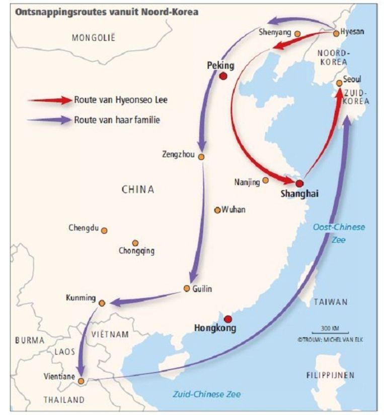 Het is 1997 als Hyeonseo Lee ontsnapt uit Noord-Korea. Jaren is ze op de vlucht in China, pas in 2008 krijgt ze asiel in Seoul. Daarna organiseert ze de ontsnapping van haar familie. Een lange en zware tocht volgt. Beeld Trouw