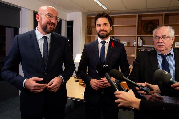 Georges-Louis Bouchez (m.) is sinds vorige week de nieuwe MR-voorzitter in opvolging van Charles Michel, vandaag Europees president.