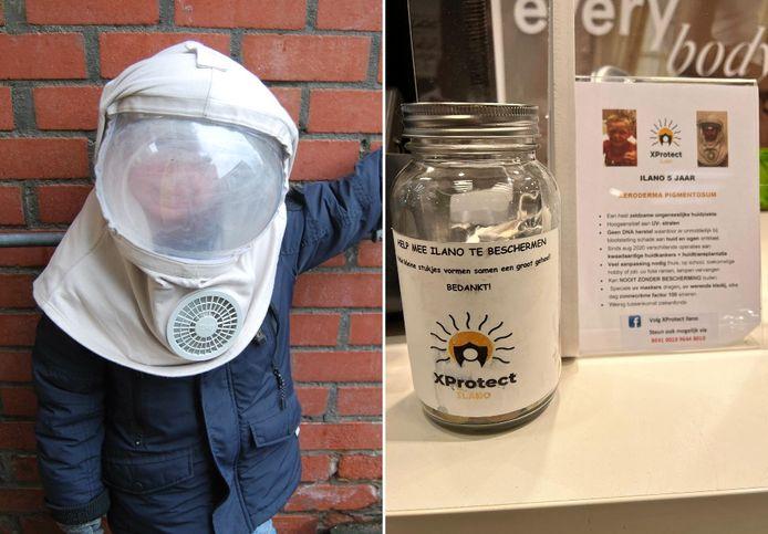 Ilano (5) heeft inmiddels een speciaal uv-masker, zodat hij toch buiten op de speelplaats met vriendjes kan ravotten. Rechts: het inzamelpotje voor Ilano, gestolen in een modewinkel in het Belgische Nieuwpoort.