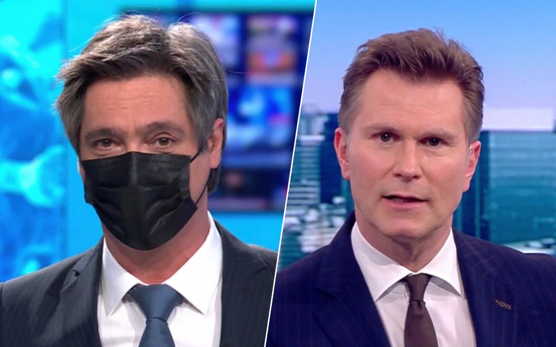 Stef Wauters (VTM) draagt een masker als hij niet alleen in de nieuwsstudio zit, Wim De Vilder (VRT) niet. Beeld VTM / VRT