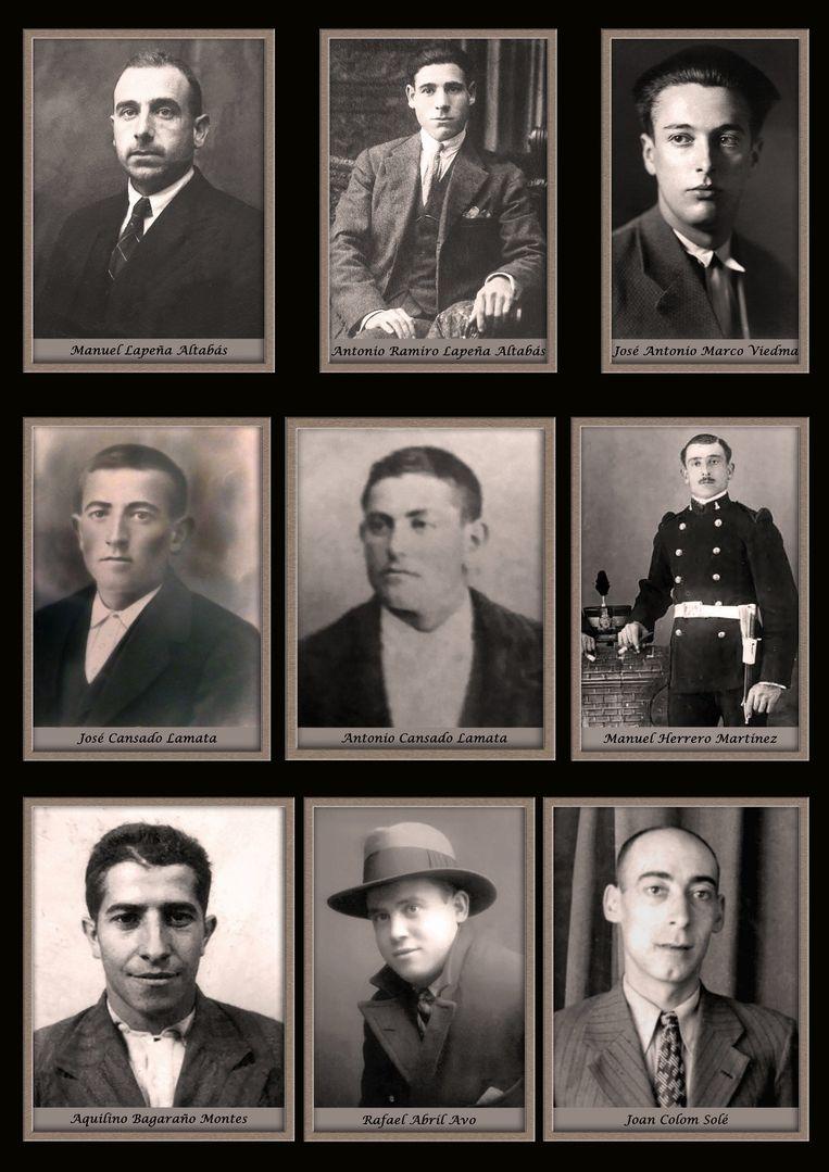 Op de foto onder anderen José Cansado Lamata, Antonio Cansado Lamata en José Antonio Marco Viedma, mannen die in het verhaal voorkomen. Beeld Privé-archief
