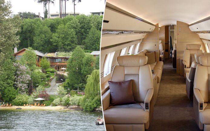 Bill Gates heeft een luxueuze villa aan de oevers van Lake Washington bij Seattle. Rechts de binnenkant van een Bombardier BD-700 Global Express, een privévliegtuig zoals hij er eentje bezit.