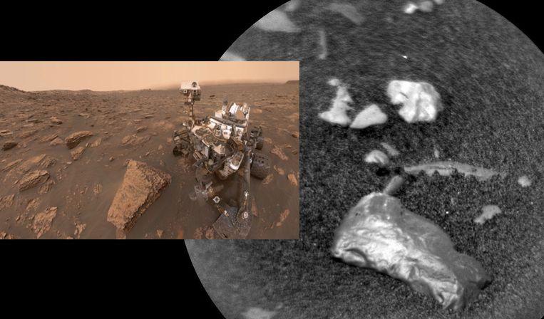 Marsjeep Curiosity heeft een opvallend glimmend object ontdekt.
