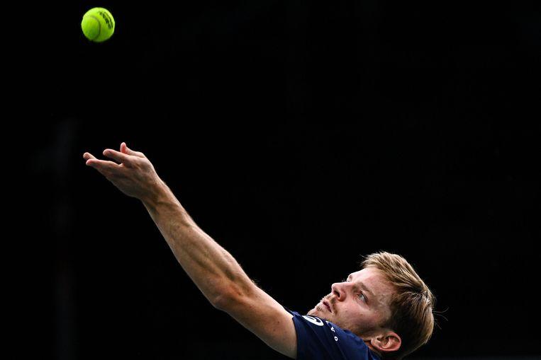 David Goffin serveert op het toernooi van Paris-Bercy, begin november. Beeld AFP