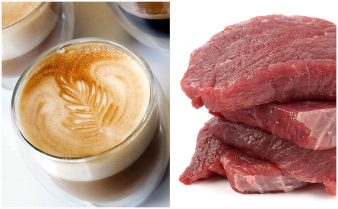 Biefstuk en cappuccino.