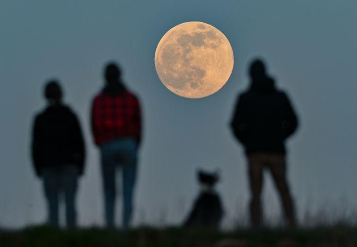 De maan boven Brandenburg, Duitsland.