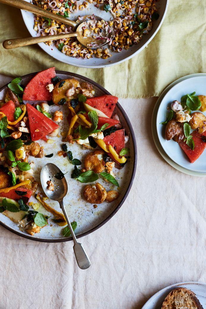 Salade van meloen en aardappel.