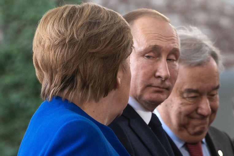 Merkel steunt de uitlatingen van de Duitse minister van Buitenlandse Zaken Heiko Maas. Beeld EPA