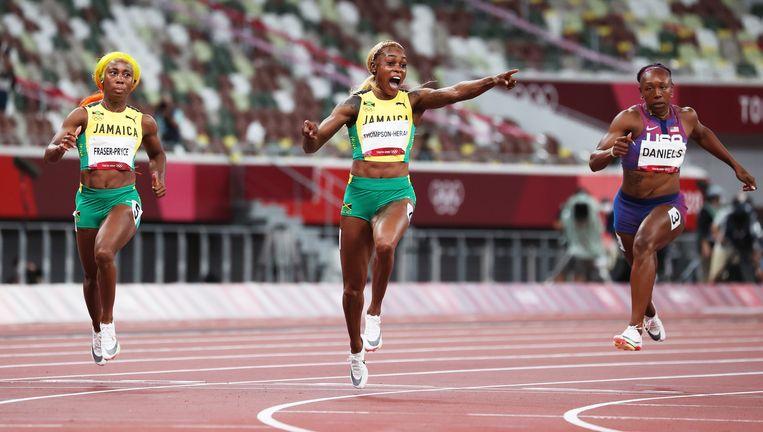 Elaine Thompson-Herah van Jamaica was de snelste bij de vrouwen. Beeld EPA