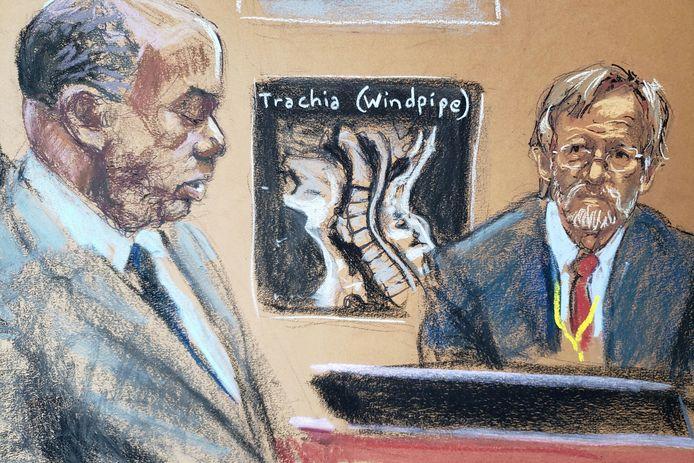 Longexpert Dr. Martin Tobin (rechts) wordt ondervraagd door aanklager Jerry Blackwell op de negende dag van het proces tegen ex-agent Derek Chauvin wegens de dood van George Floyd in Minneapolis.