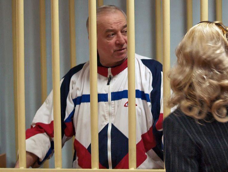 Sergej Skripal in de rechtbank van Moskou in 2006. Beeld EPA