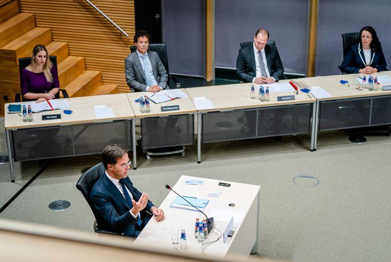 Premier Mark Rutte wordt gehoord door de parlementaire enquetecommissie Kinderopvangtoeslag. Beeld ANP