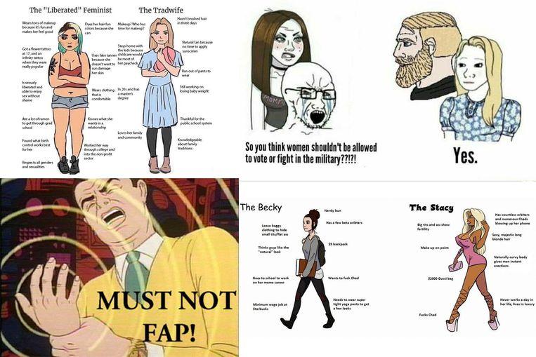 In alt-rightkringen worden gretig memes gemaakt en gedeeld over stereotiepe man-vrouwkenmerken en het zogezegd schadelijke effect van masturbatie. Beeld RV